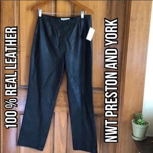 NWT Preston and York Real Leather Pants Size 10